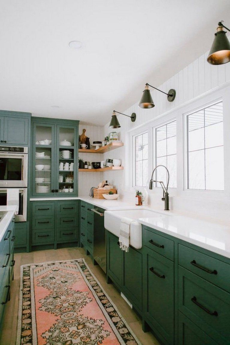 15 Stunning Colorful Interiors   Green kitchen designs ...