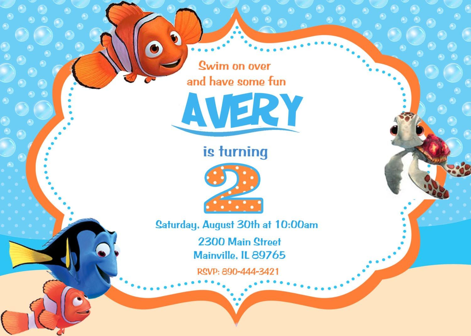 Finding Nemo Birthday Party Invitations Sophia S 2nd Birthday