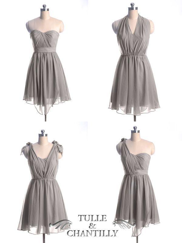 Short Convertible Bridesmaid Dress TBQP177P   Palomino, Grey and ...