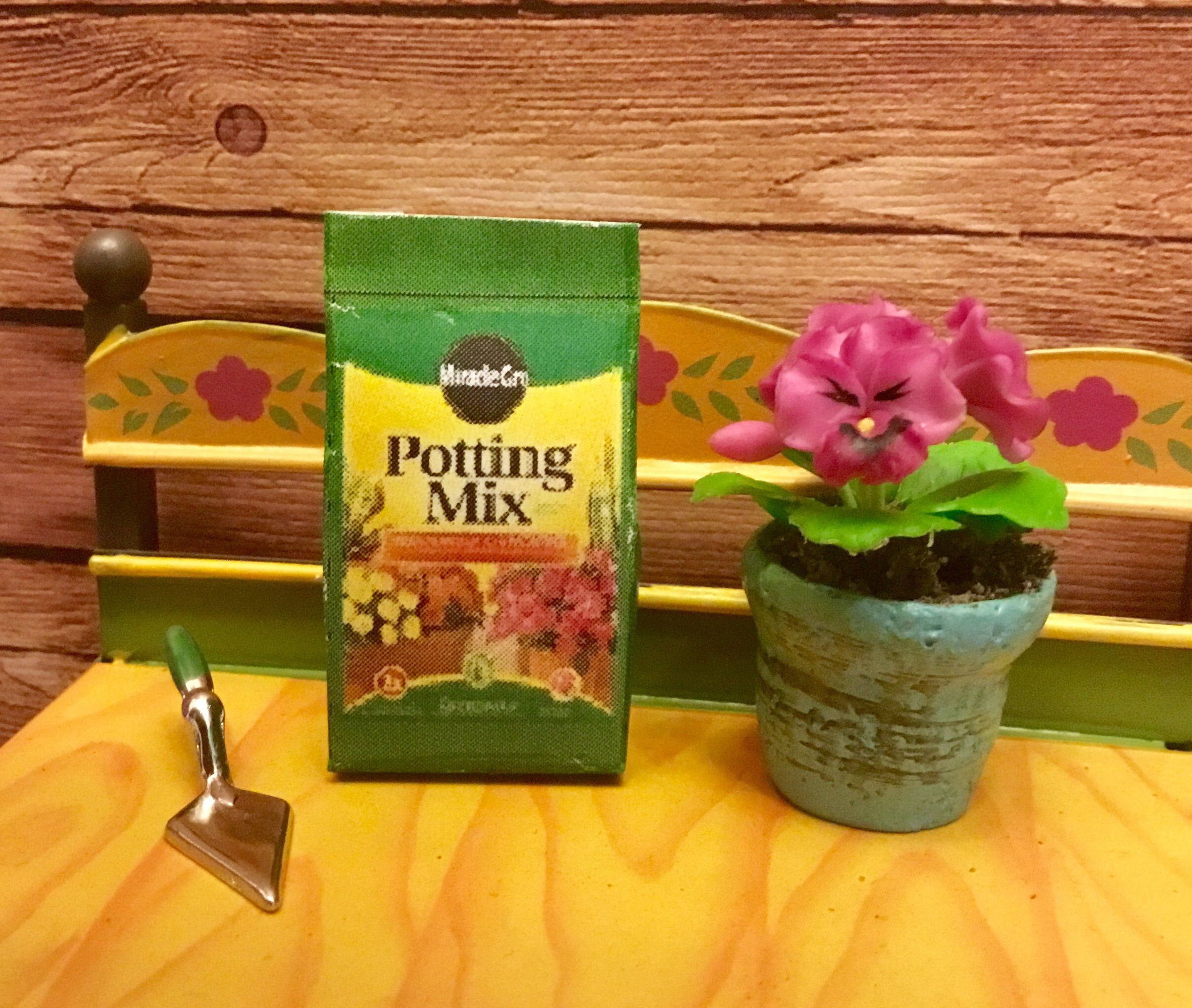 LARGE Miniature Filled Bag of Potting Soil for DOLLHOUSE Miniatures 1:12 Scale