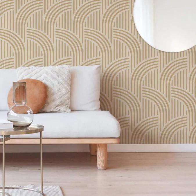 Scott Living 30 75 Sq Ft Honey Vinyl Geometric Self Adhesive Peel And Stick Wallpaper Lowes Com In 2020 Self Adhesive Wallpaper Adhesive Wallpaper Peel And Stick Wallpaper