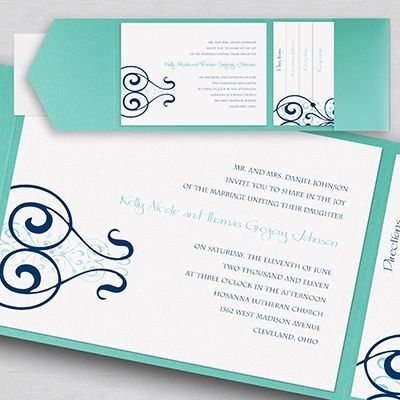Stately Scrolls Pocket Invitation Not sure? Order a Sample! Item - invitation event sample