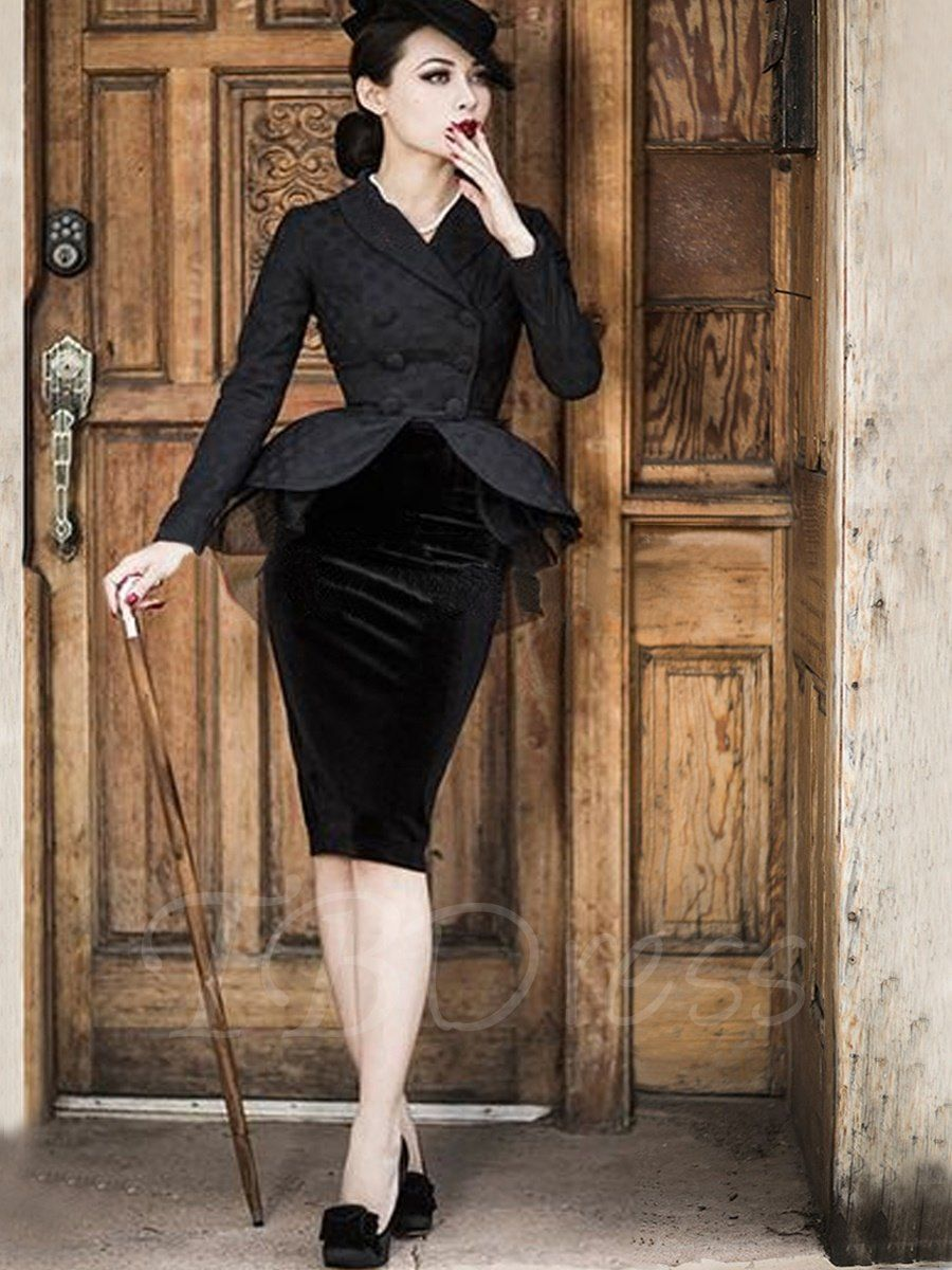 Black Long Sleeve Mesh Elegant Women S Skirt Suit M Tbdress Com Womens Skirt Suits Womens Skirt Retro Fashion Vintage [ 1200 x 900 Pixel ]
