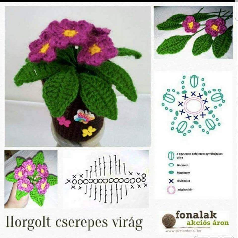 Flores | Flores y hojas | Croché, Ganchillo y Flores de ganchillo