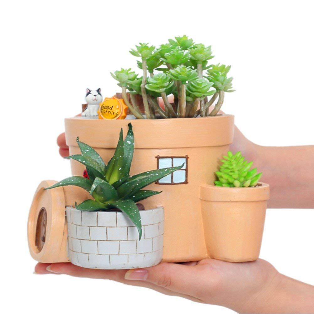 Cute cat and cabin succulent pots with drainage resin mini