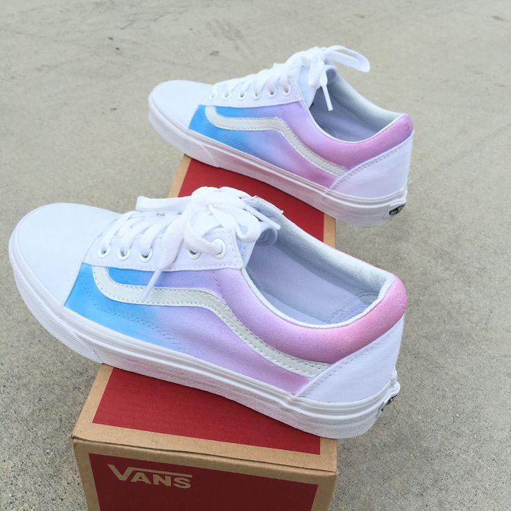 Custom Painted Vans Old Skool Sneakers - Pastel Colored Ombre ...