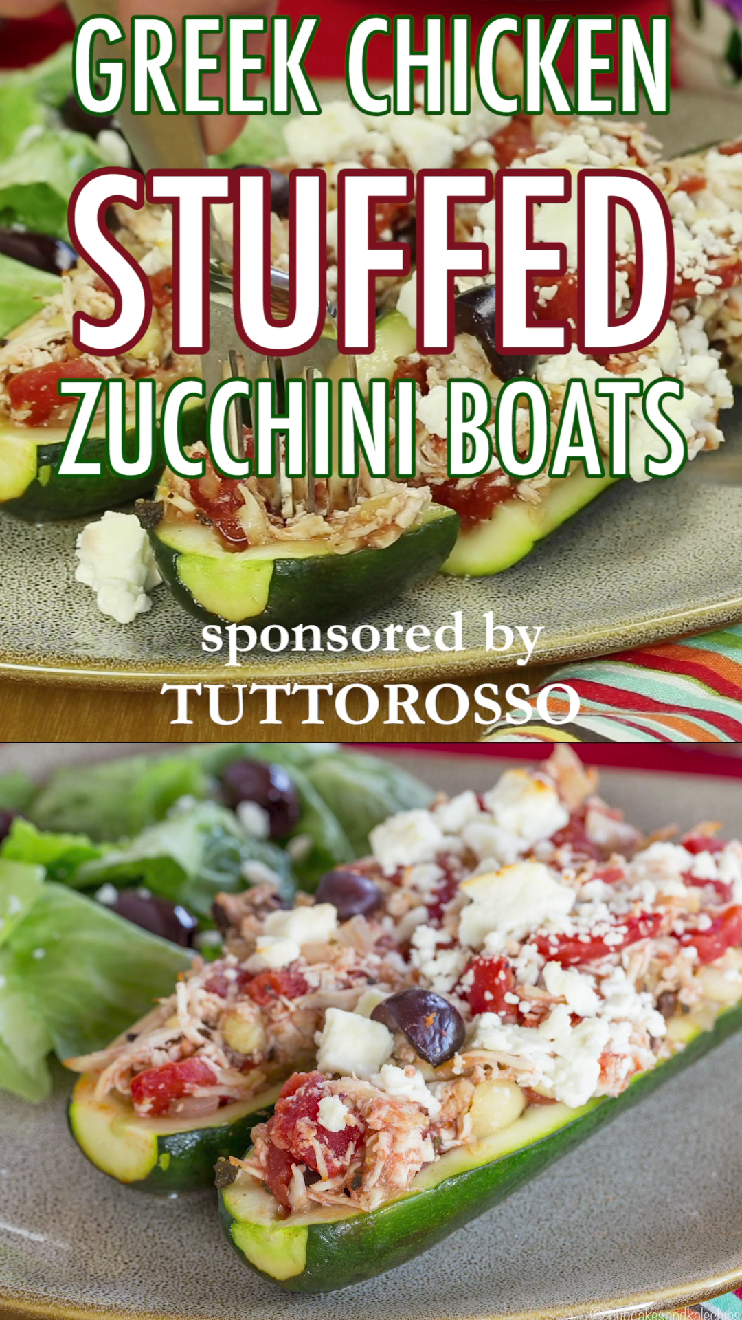 Greek Chicken Stuffed Zucchini Boats is part of Chicken zucchini - Baked Greek Chicken Stuffed Zucchini boats get a Mediterranean flair for a healthy dinner recipe packed with fresh ingredients and bold flavors