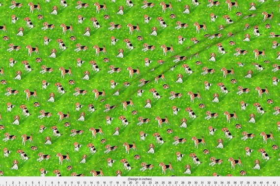 Green Beagle Fabric Beagles And Dandelions By Vinpauld