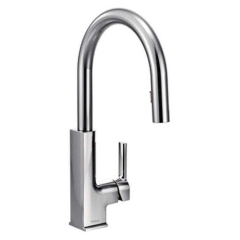 Moen Sto Chrome One Handle High Arc Pulldown Kitchen Faucet Chrome