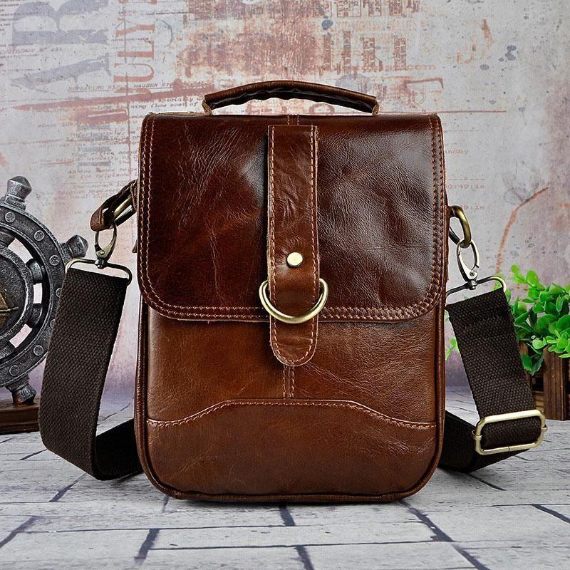 23911ad5b8 Cool Vintage Leather Mens Small Side Bag Messenger Bag Shoulder Bags f –  iChainWallets