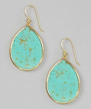 JewelMak & Tai - Tai Turquoise & Gold Earrings - Zulily