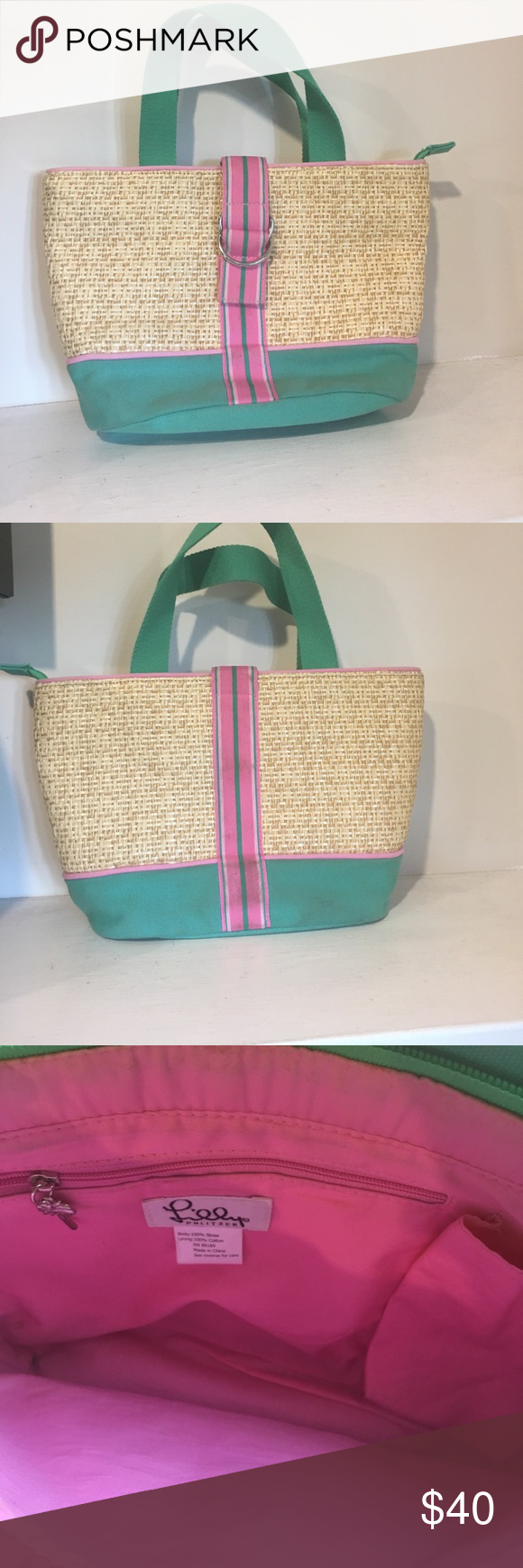Lilly Pulitzer bag! Wicker and canvas bag barley used great pink and green colors! Lilly Pulitzer Bags