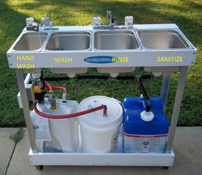 Concession Sink 4 Compartment Portable Food Truck Trailer 4 Small