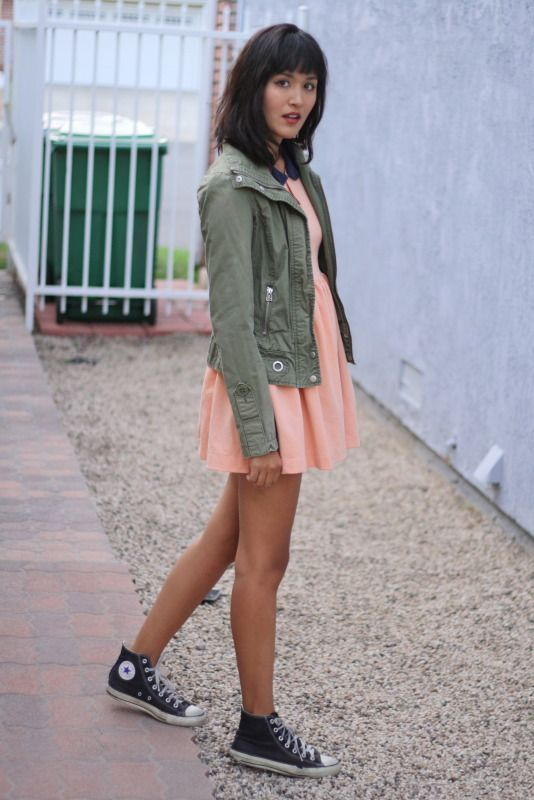 Black high top converse with dress