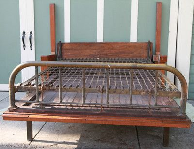 Antique Mission Arts Crafts Murphy Fold Down Bed W Bench