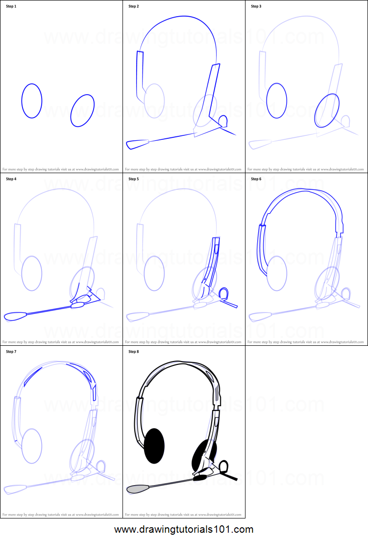 How To Draw Headphones With Microphone Printable Drawing Sheet By Drawingtutorials101 Com In 2020 Headphones Drawing Drawing Sheet Headphones With Microphone