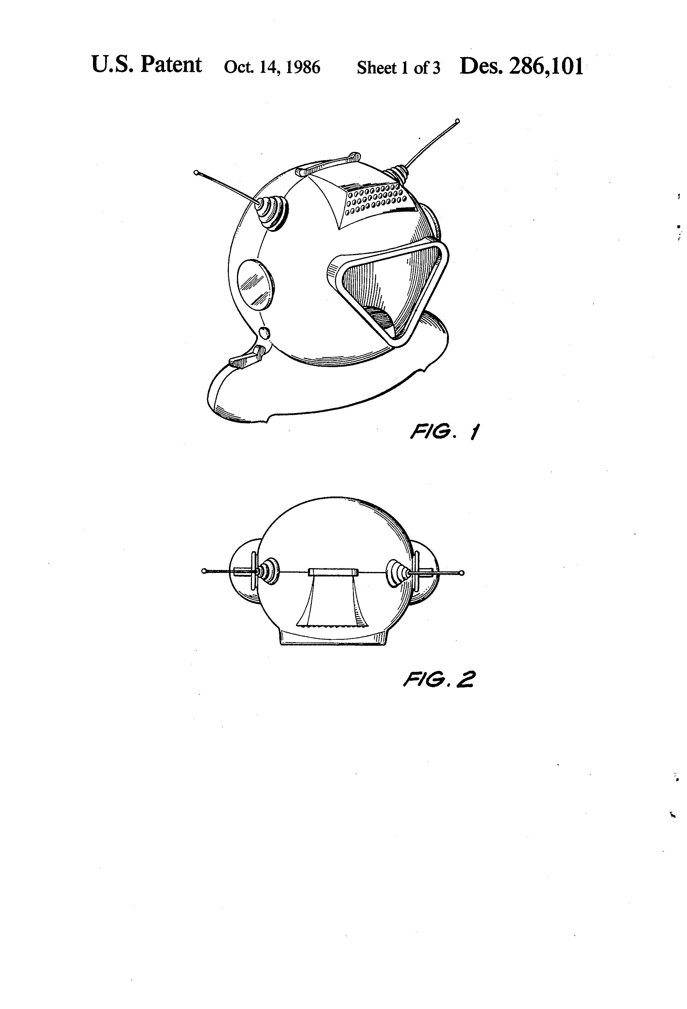 Patent Usd286101 Spaceman S Helmet Patent Spaceman Mirror Image
