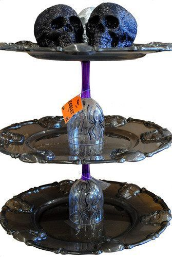 Diy Spooky Cake Stand Use Plastic Trays And Goblets From