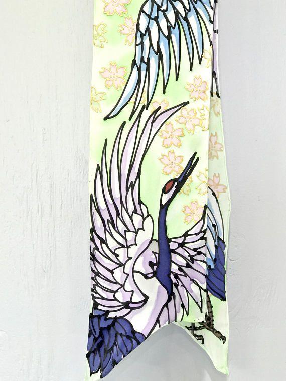 Hand Painted Silk Scarf Bird Scarf Japan Scarf Spring