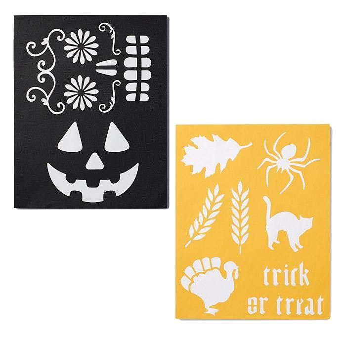 """Write""-on! Add your personal touch to the festivities with these fall-inspired stencils. We love how these easy projects make the season simply stunning! Regularly $7.99, shop Avon Living online at http://eseagren.avonrepresentative.com"