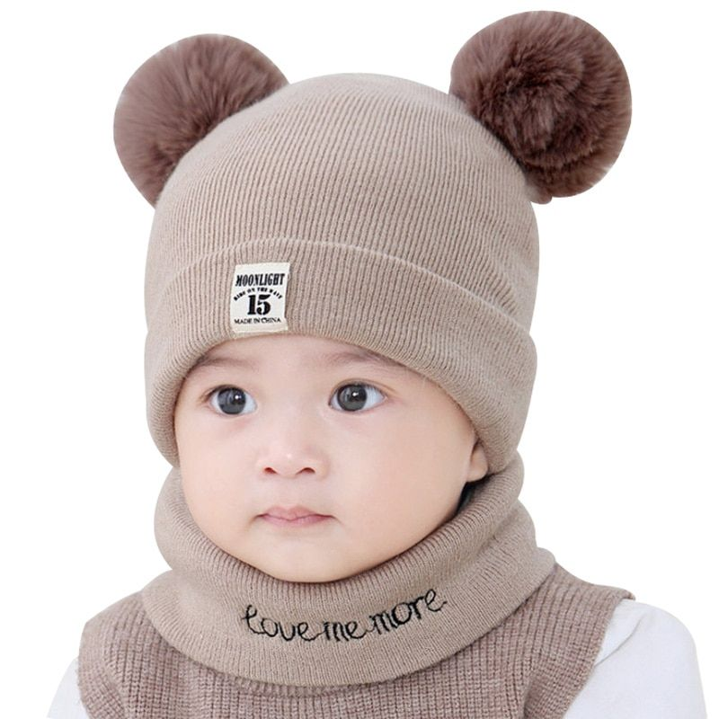 5dcc2d28417 Baby Winter Cap Hat Scarf for 3-12 Months Infant Toddler Boys Girls Warm Cotton  Baby Beanie Neck Warmer Set