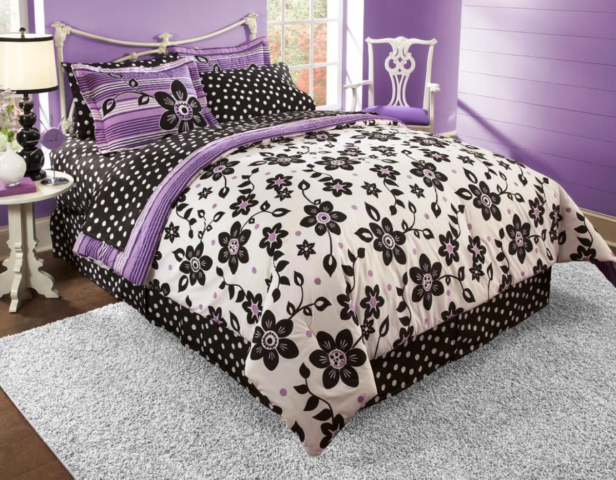Best black white and purple bedroom bedroom and bedding Purple and black bedroom