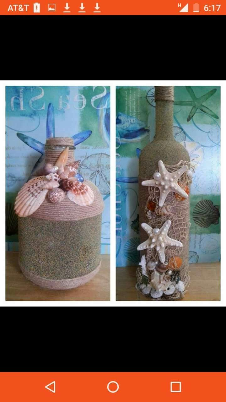 Wine Bottle Crafts Bottle Art Shell Crafts