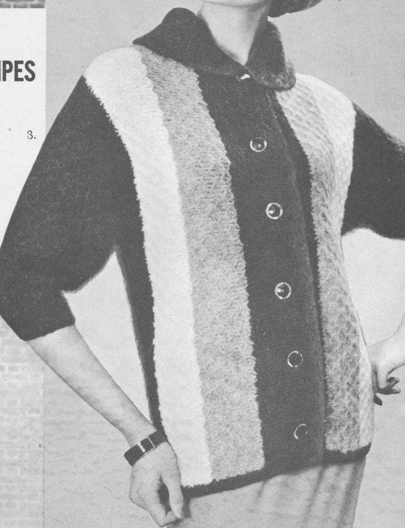 145 PDF Striped Jacket Knitting Pattern, Tri-Tone Cardigan Knit ...