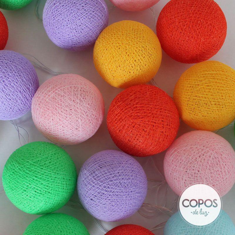 Guirnalda bah a bolas de hilo y luz artesanales - Bolas de hilo ...
