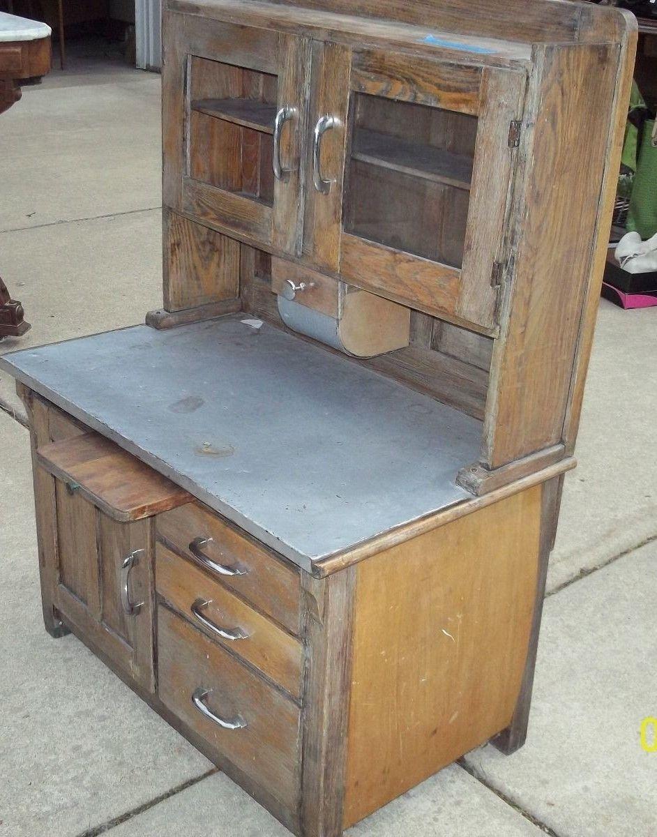 Antique Children Size Vintage Kitchen Hoosier All Wood