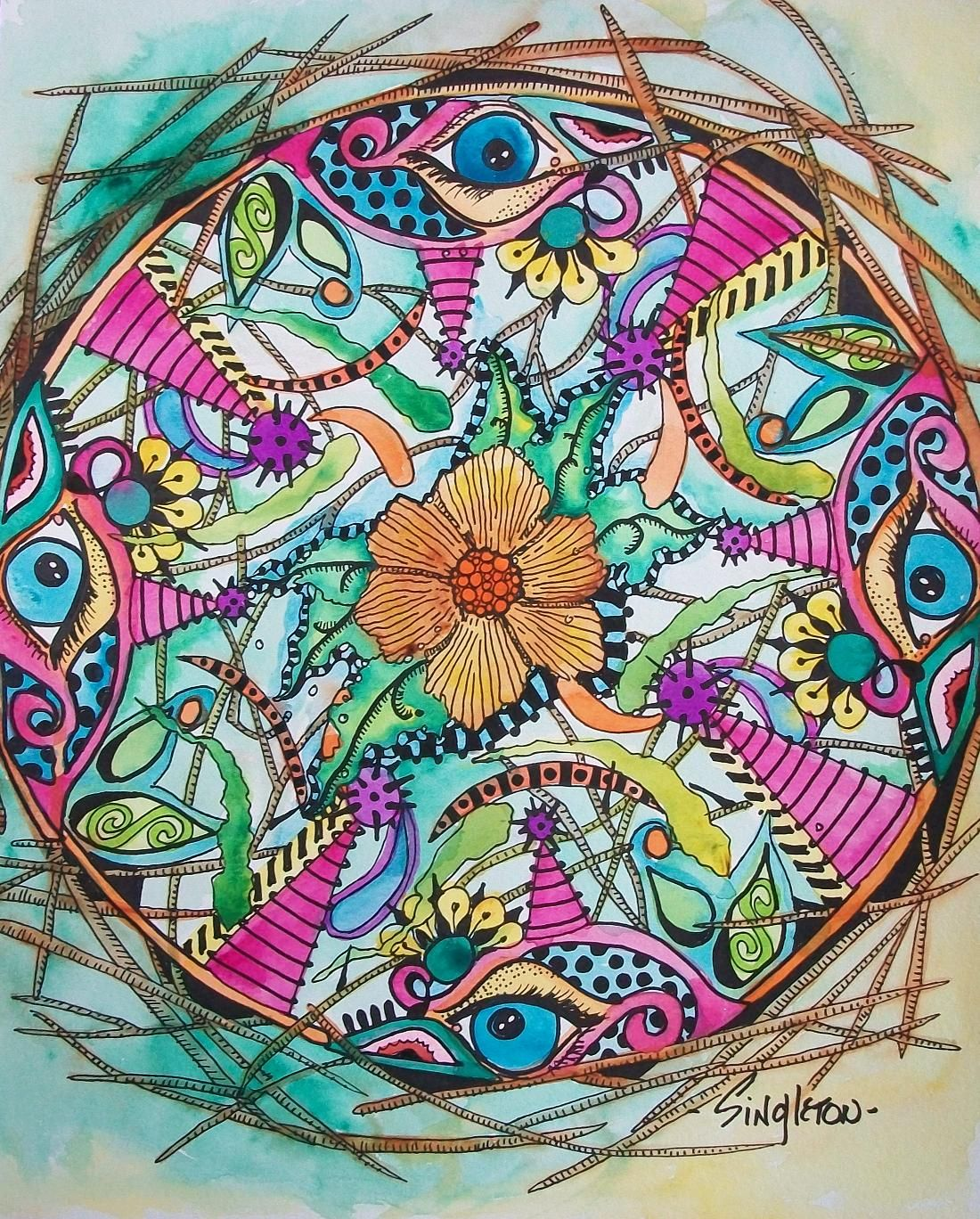 hippie graphics | the psychedelic bird nest c singleton rafia ribbon and spent ...