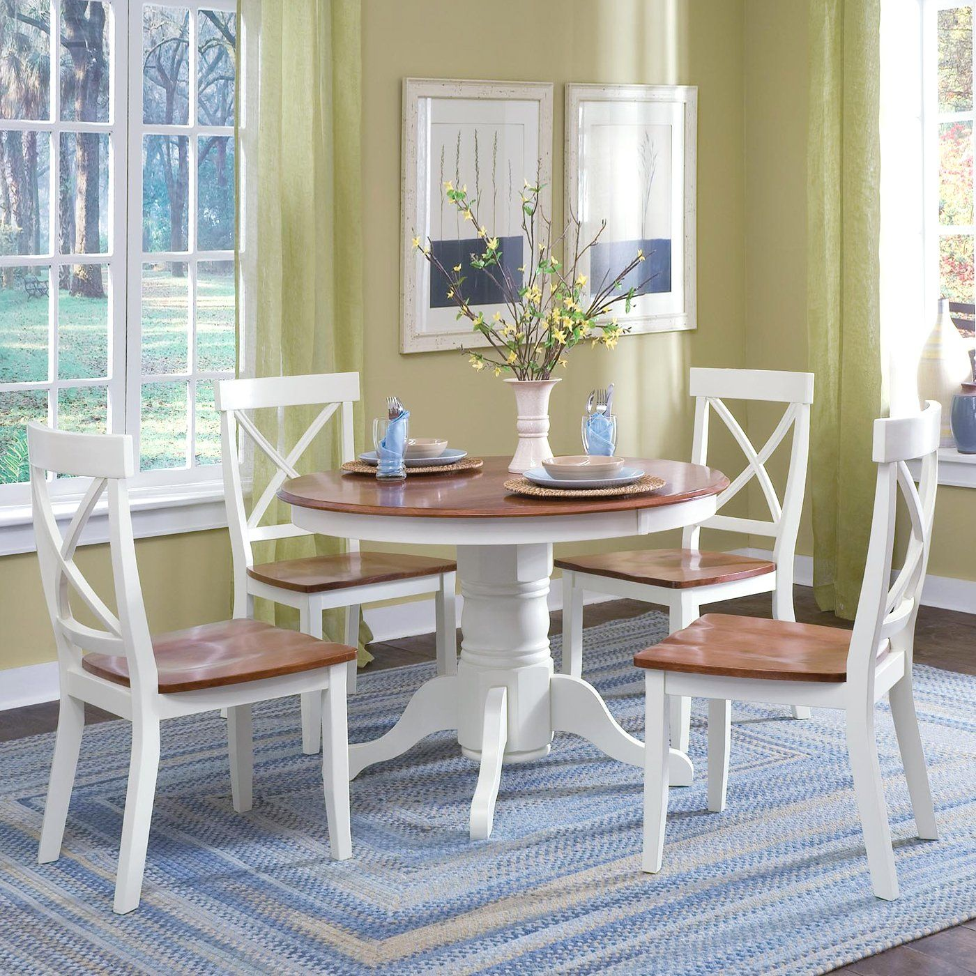 Home Styles 5168-318 Round Pedestal Piece Dining Set | Apartment ...