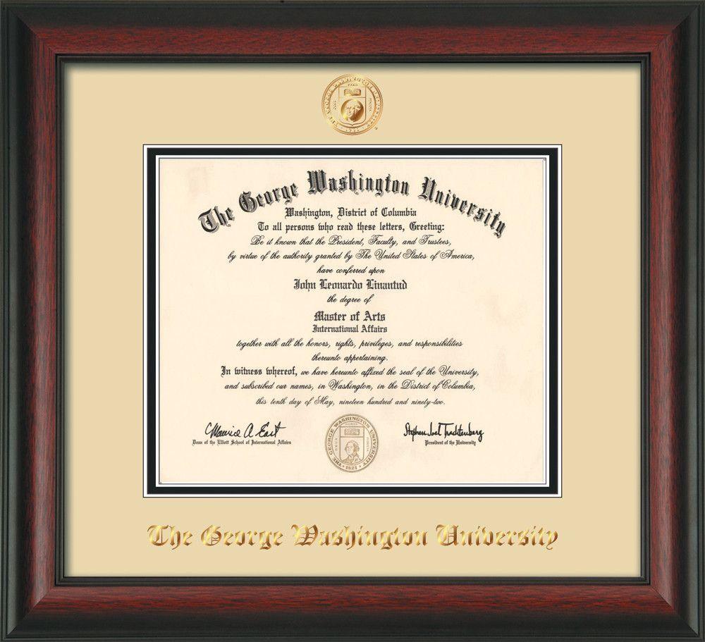 George Washington University Diploma Frame - Rosewood - w/Embossed ...