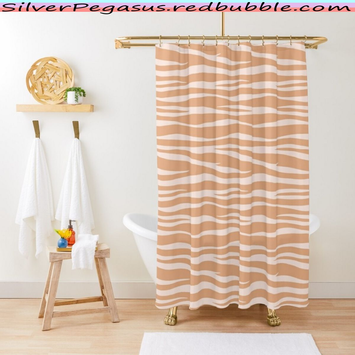 Zebra Print Toffee Caramel Shower Curtain By Silverpegasus In