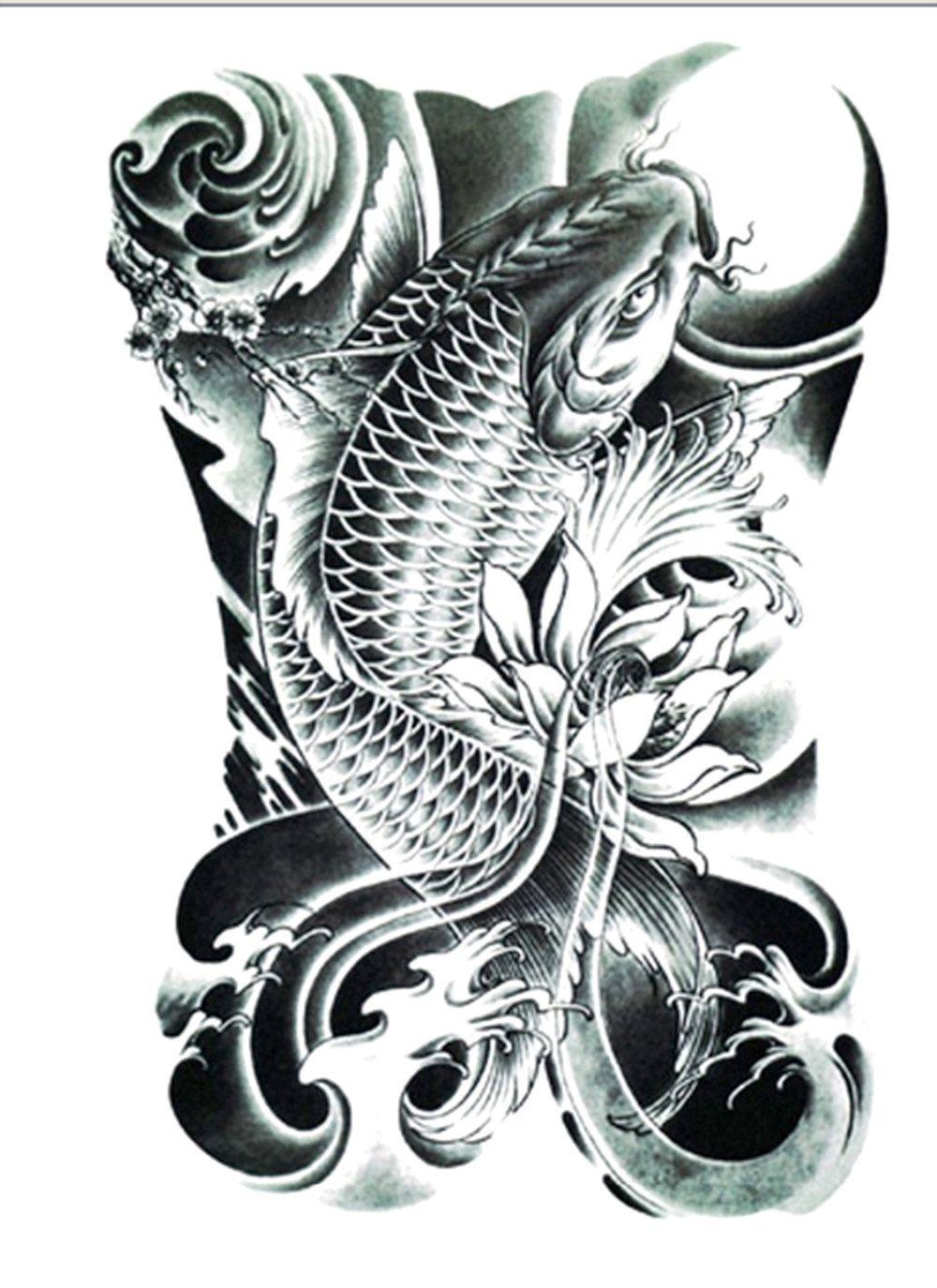 Black And Grey Koi Fish Sleeve Tattoos: Realistic Koi Tattoo/Large Size By FlashTattoosLA On Etsy