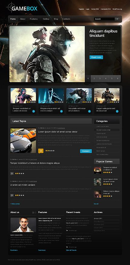 Gaming Website Templates Pinterest Wordpress Template And - Gaming website template