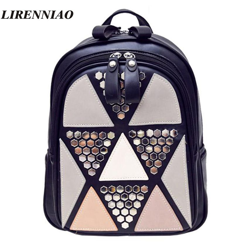 Fashion Patchwork Mini Women Backpack Pu Leather Backpack For Teenager  Girls Luxury Travel Backpack Women Bags Designer bolsas 9f062b3c6e9b6