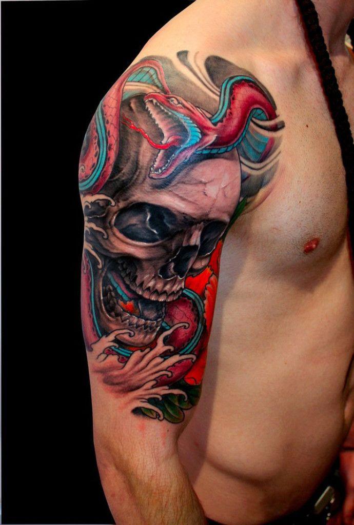 Tatouage Tete De Mort Homme Epaule Tattoo Client Tatouage