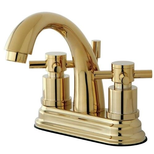 Kingston Brass Ks8612dx Concord Two Handle Centerset Lavatory Faucet With Brass Pop Up Bathroom Faucets Kingston Brass Polished Brass