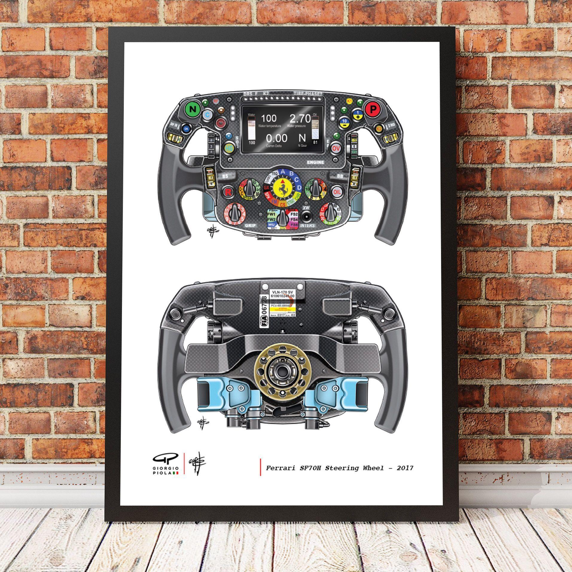 Ferrari Sf70h Steering Wheel Art Print Wheel Art Art Prints Steering Wheel