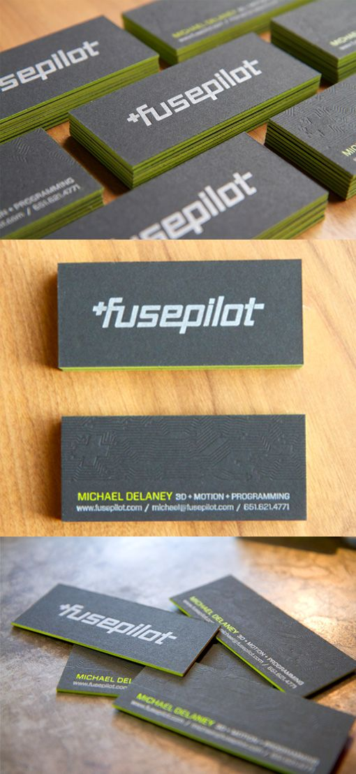 Bold black textured business card with modern typeface and edge this bold set of business cards starts with a thick high quality card stock and finishes with bright eye catching green edge painting reheart Images