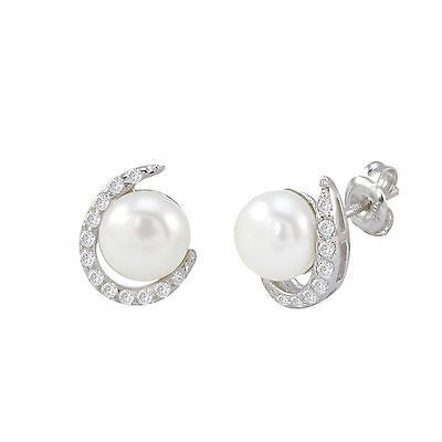 White Freshwater Pearl Sterling .925 Silver Earrings with Fancy White CZ Swoosh.  If you are looking for a great selection of sterling silver jewelry - at very affordable prices check out www.jewelryland.com. If you like these earrings please feel free to repin and leave a comment.