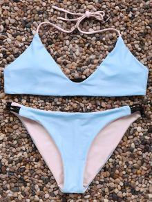 Halter Neck Contrast Bikini Set