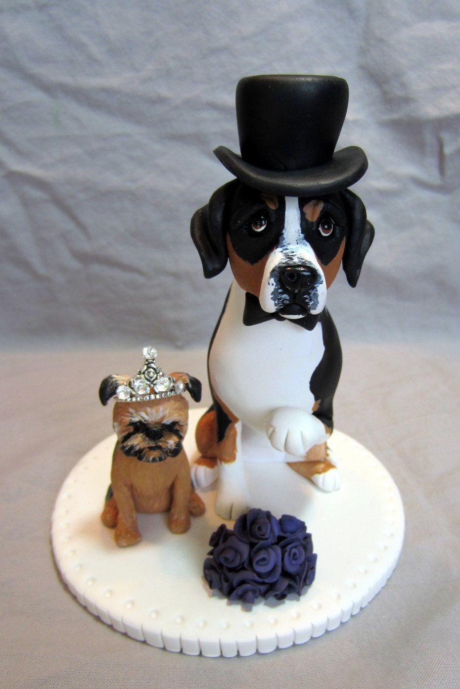 Custom Wedding Cake Topper Dpg or Cat Clay Sculpture Mt