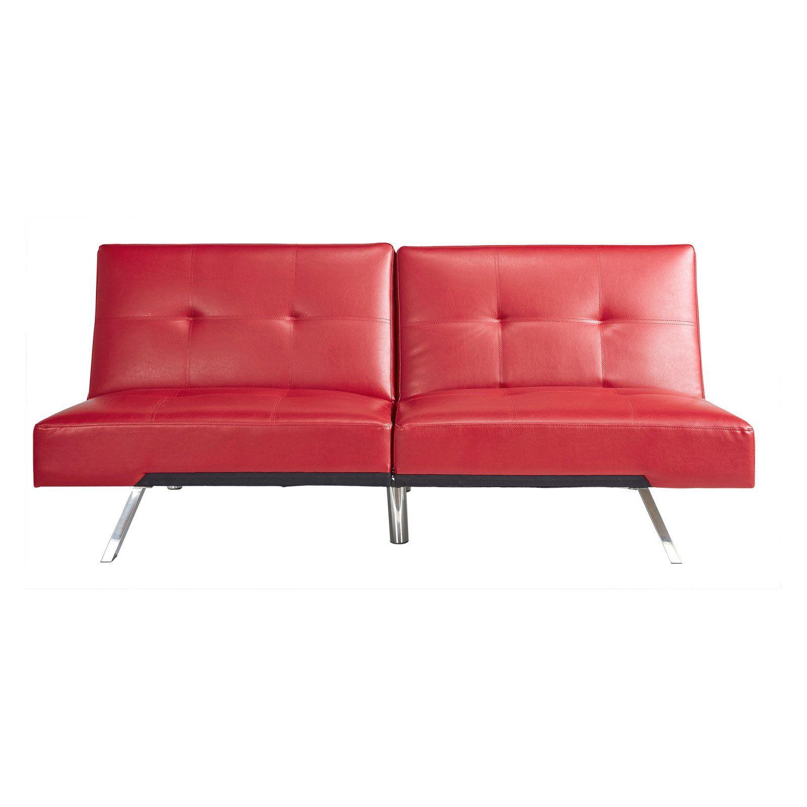 Abbyson Aspen Leather Convertible Sofa Red in 2019 ...