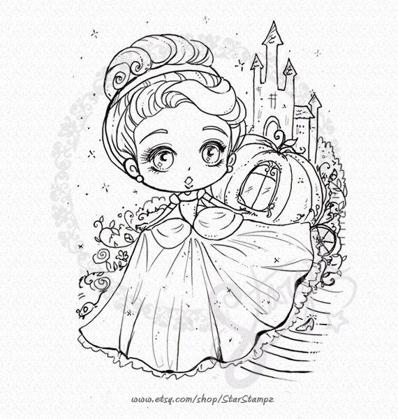Cinderella Digital Stamp Instant Download Etsy Digital Stamps Chibi Coloring Pages Disney Coloring Pages
