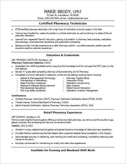 Check out this sample resume for an entry-level pharmacy - pharmacy technician resume entry level