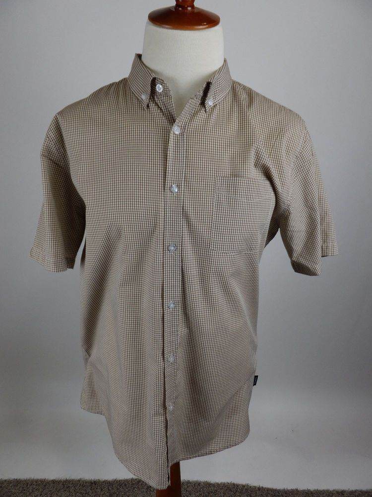 c785c845d148e BRIXTON Brown Gingham Check Short Sleeve Button Front Cotton Blend Shirt  Men XL  Brixton  ButtonFront