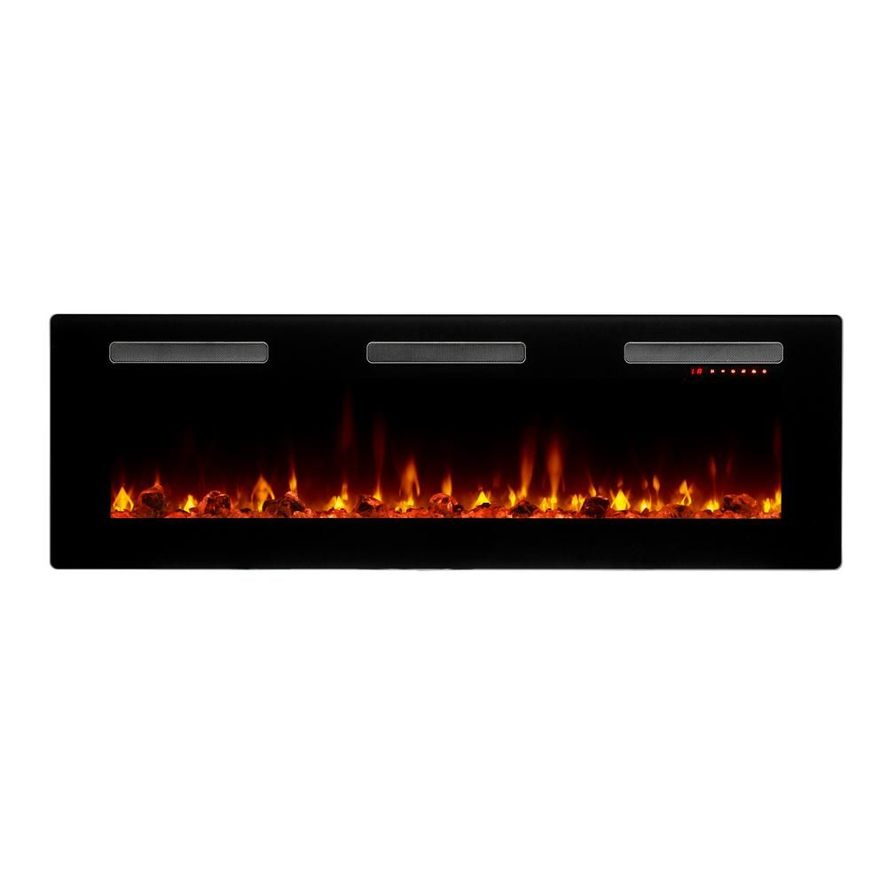 C3 Sierra 60 In Wall Built In Linear Electric Fireplace In Black