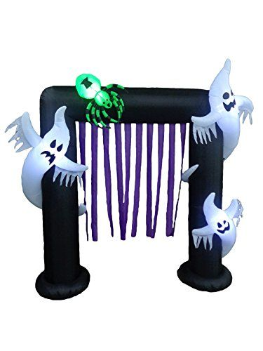 8 Foot Lighted Halloween Inflatable Ghosts + Spider Archw...